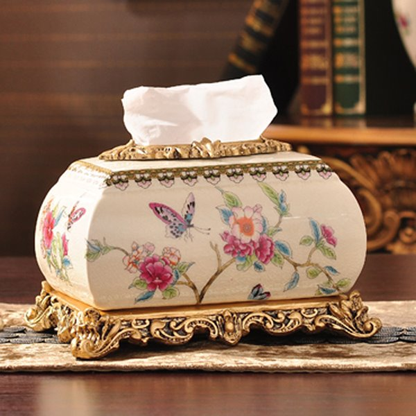Gorgeous Flowers and Butterfly Tissue Box Desktop Decoration
