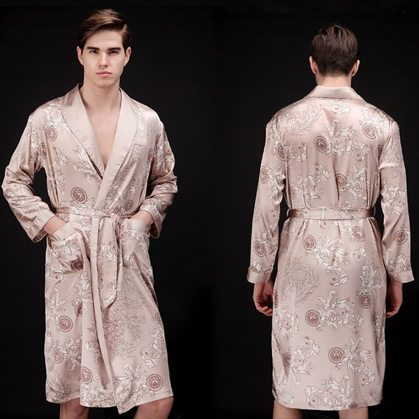 Comfortable Ice Silk Long-sleeved Bathrobe