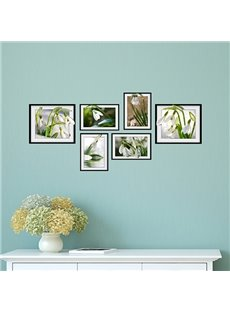 Fresh Beautiful White Flowers Photo Frame Wall Sticker