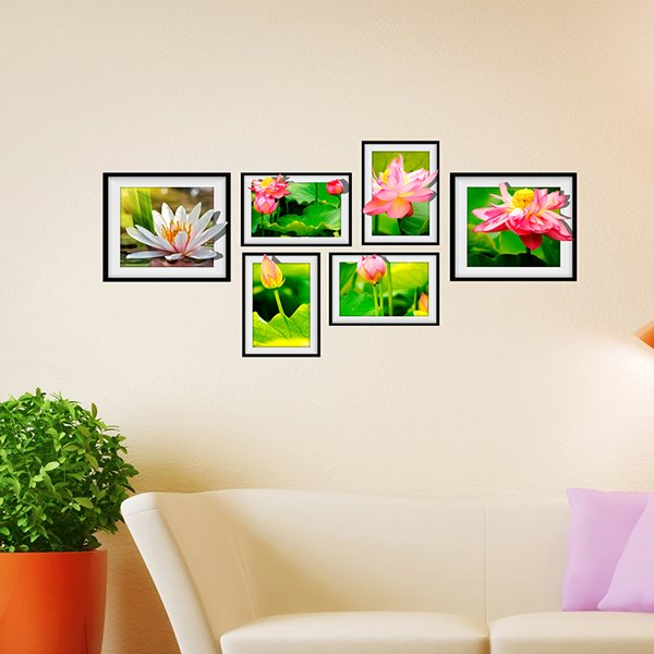 Beautiful 6 types of Lotus Photo Frame Wall Sticker