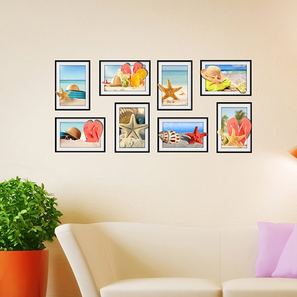 Nice And Cool Seaside Scenery and Starfish Photo Frame Wall Sticker