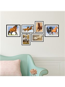 Strong Vitality 6 Types of Horse Photo Frame Wall Sticker