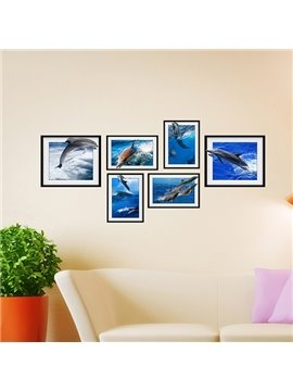 Creative 3D Dolphin Pattern Photo Frame Wall Sticker