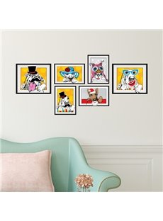 Abstract Beautiful and Handsome Dog Photo Frame Wall Stickers