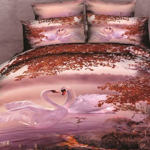 Lovely White Swan Print Cotton 2-Piece Pillow Cases