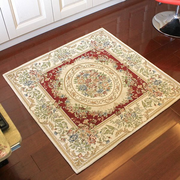 Wine Red Square European Style Floral Area Rug