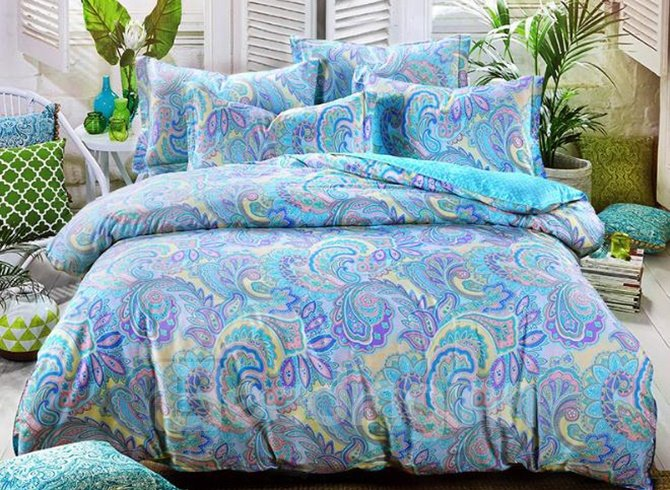 Splendid Cotton Paisley Pattern Blue 4-Piece Duvet Cover Sets