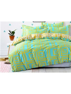 Fresh Greek Key Pattern 4-Piece Cotton Duvet Cover Sets
