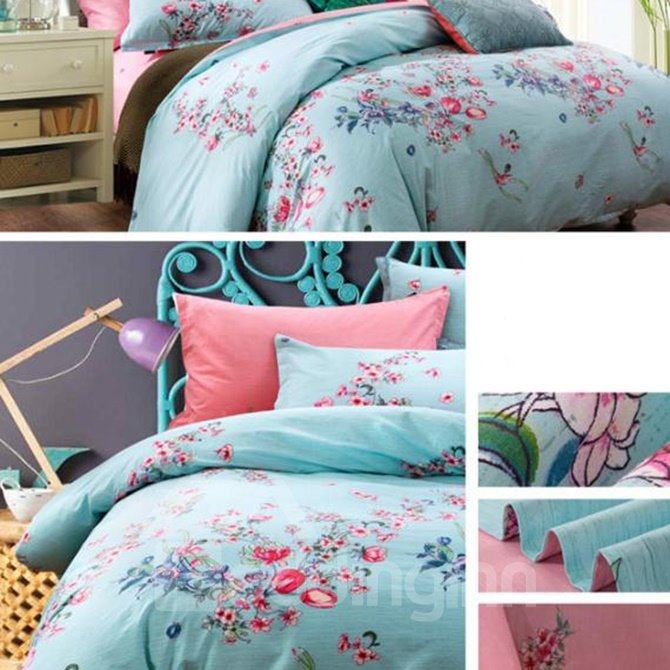 Light Blue Flower Print 4-Piece Cotton Duvet Cover Sets