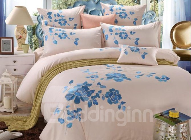Romantic Blue Peony Print 4-Piece Cotton Duvet Cover Sets  beddinginn