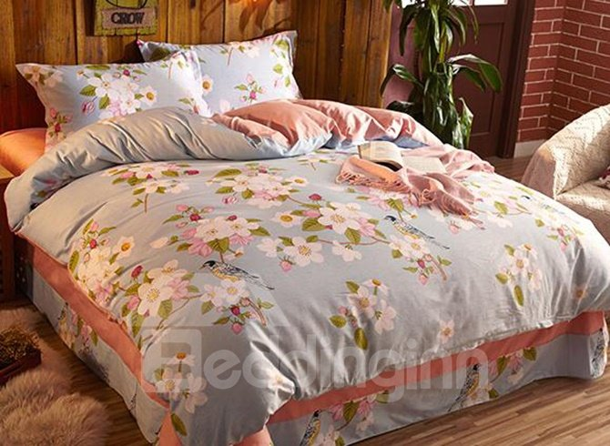 Pastoral Style White Flower Print Light Blue 4-Piece Cotton Bedding