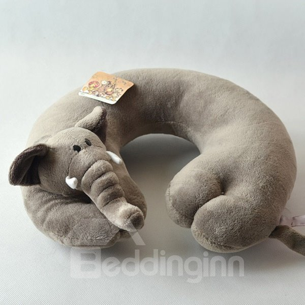 Ultra Soft Gray Elephant Plush Toy U Type Pillow