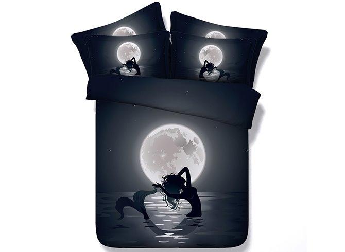 Mystical Mermaid in the Moonlight Digital Printing 4-Piece Duvet Cover Sets