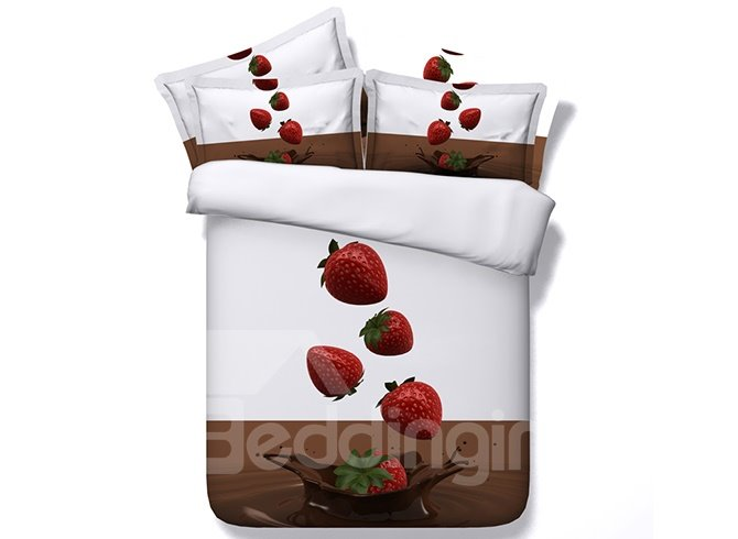 Fresh Strawberries With Water Splash Digital Printing 4-Piece Duvet Cover Sets