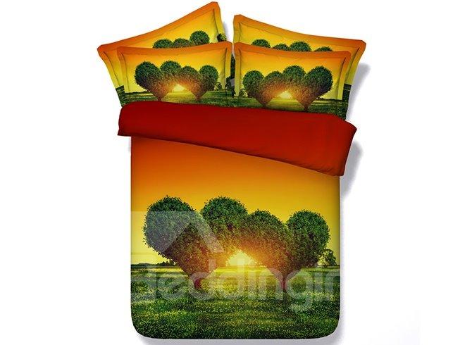 Fantastic Green Heart Shape Tree Digital Printing 4-Piece Duvet Cover Sets