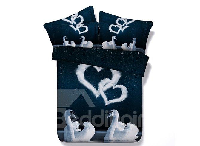 Romantic White Swans Couple and Heart Shape Print 4-Piece Bedding Sets