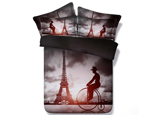 Romantic Big Wheel Bicycles and Eiffel Tower Print 4-Piece Duvet Cover Sets
