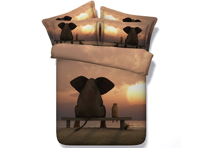 3D Vivid Elephant Sunset Digital Printing 4-Piece Duvet Cover Sets
