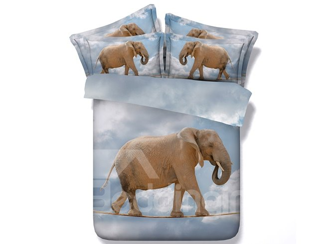 Fancy Elephant 3D Digital Printing 4-Piece Duvet Cover Sets
