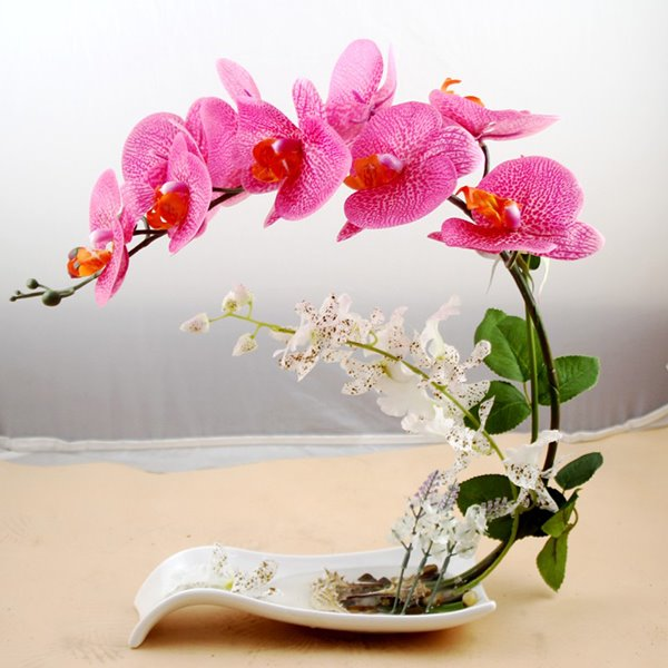 Beautiful Polyurethane Decorative Butterfly Orchid Artificial Flower Set