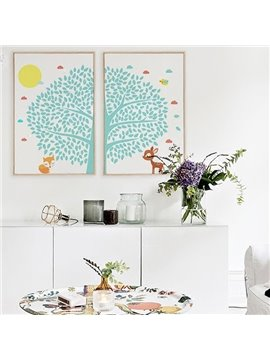 Creative Simple Tree and Animal Pattern Wall Art Prints