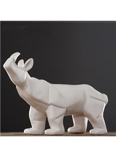 White Ceramic Rhinoceros Desktop Decoration