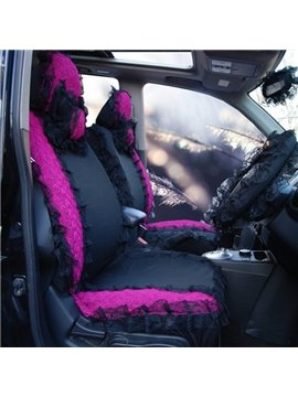 Black And Red Mixed Classic Lace Style Universal Car Seat Cover