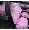 Charming Pink Non-woven Lace And Cotton Comfortable Material Universal Car Seat Cover