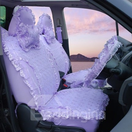 Mysterious And Magic Solid Purple Lace Universal Car Seat Cover
