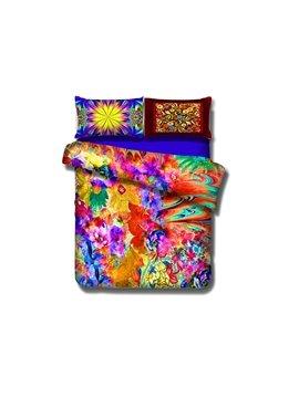 Multi-colored Flower Print 4-Piece Cotton Duvet Cover Sets