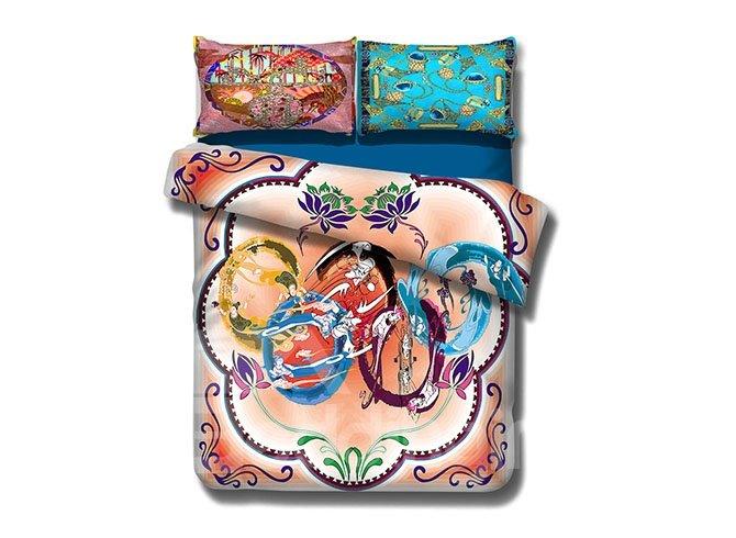 Stylish Five Rings Print 4-Piece Cotton Bedding Sets