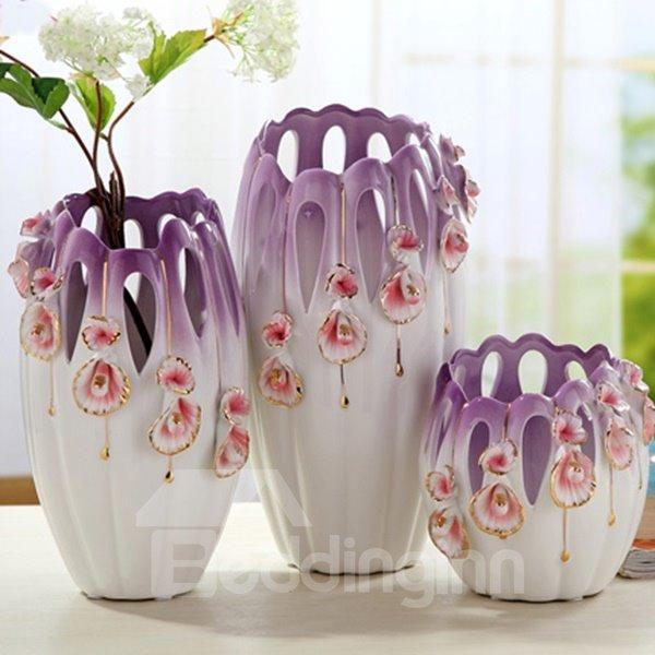 Delicate Purple Ceramic Flower Pattern Flower Vases