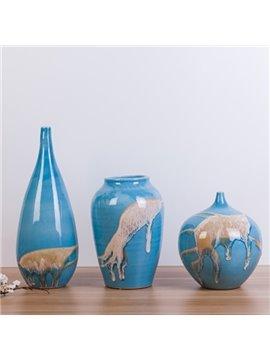 Creative Blue Mediterranean Style Sand Pattern 3 Pieces Flower Vases