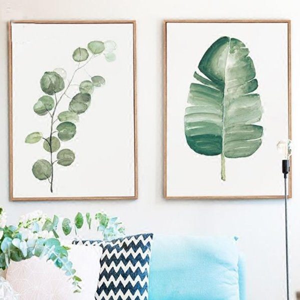Modern Simple Countryside Style 2-Piece Leaf Wall Art Prints