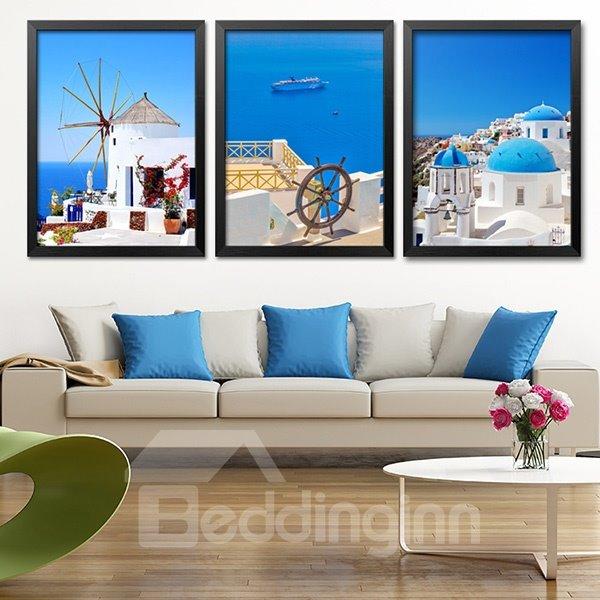 Blue Mediterranean Style Scenery Wall Art Prints