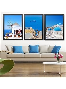 Blue Mediterranean Style Scenery Wall Art Prints