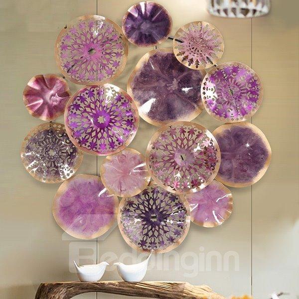 Modern Creative Purple Round Iron Art 3D Wall Sticker