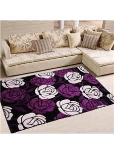 Purple Rectangle Polypropylene Fiber Flower Decorative Area Rug
