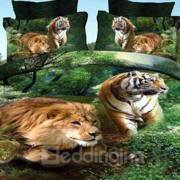Vivid Lion and Tiger Print Cotton 2-Piece Pillow Cases