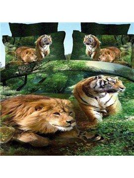 Vivid Lion and Tiger Print Cotton 2-Piece Pillow Cases