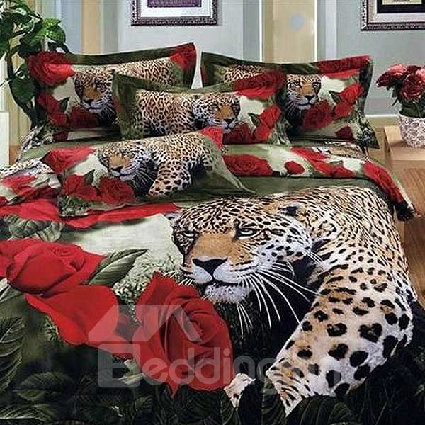 Leopard and Wonderful Red Roses Print 3D Fitted Sheet