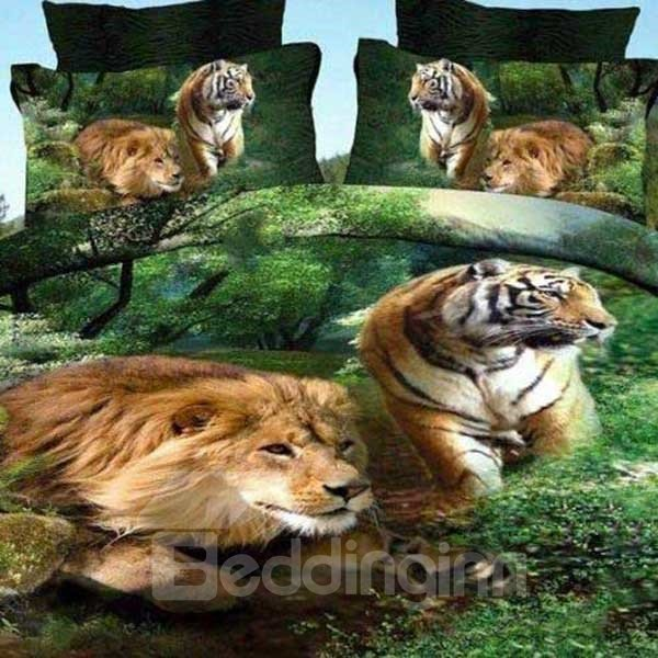Stunning Lion and Tiger Print 3D Fitted Sheet