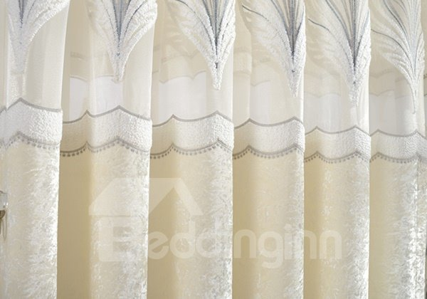 White Crushed Velvet Embroidery Shading Cloth & Sheer Sets