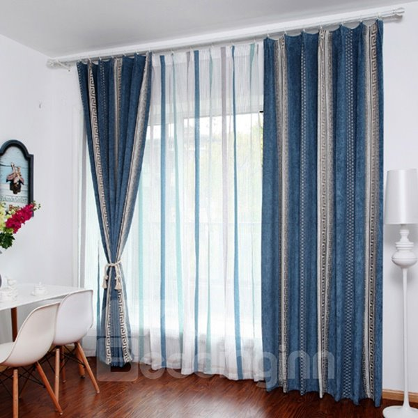 Modern Concise Blue and White Stripe Patterned Custom Sheer Curtain