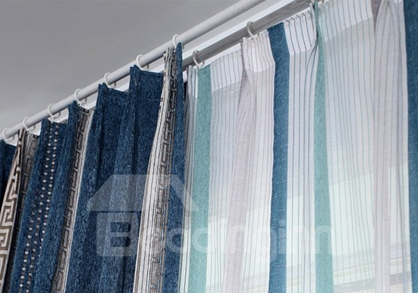 Modern Concise Thickened Chenille Stripe Patterned Custom Curtain
