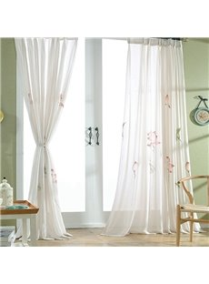 Chinese Style Lotus Pattern Custom Sheer Curtain