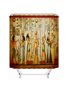 Chic Egyptian Wall Painting Print 3D Bathroom Shower Curtain