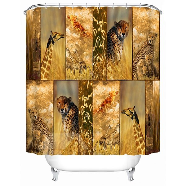 Leopards and Giraffes on the Steppe Print 3D Bathroom Shower Curtain