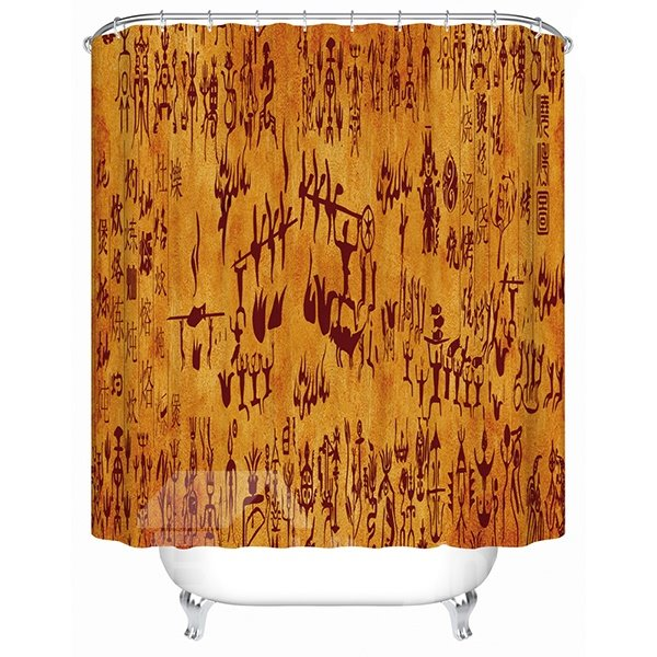 Chinese Ancient Hieroglyphics Print 3D Bathroom Shower Curtain