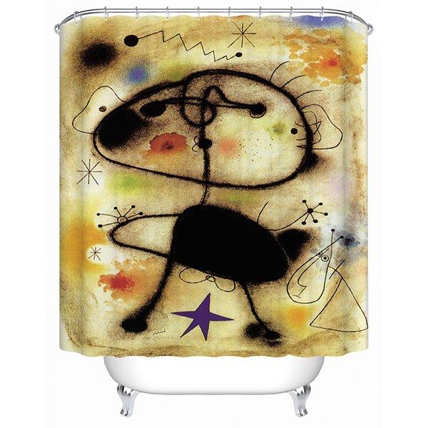 Abstract Postmodernism Art Painting Print 3D Bathroom Shower Curtain